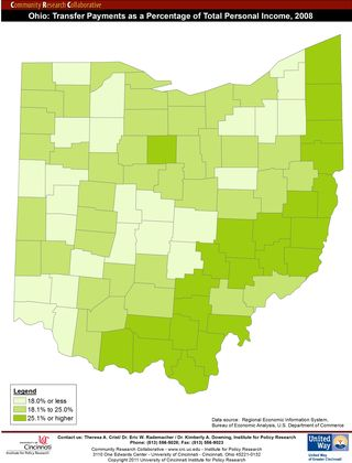 Transfer Payments as a Percentage of Total Personal Income, 2008_Ohio